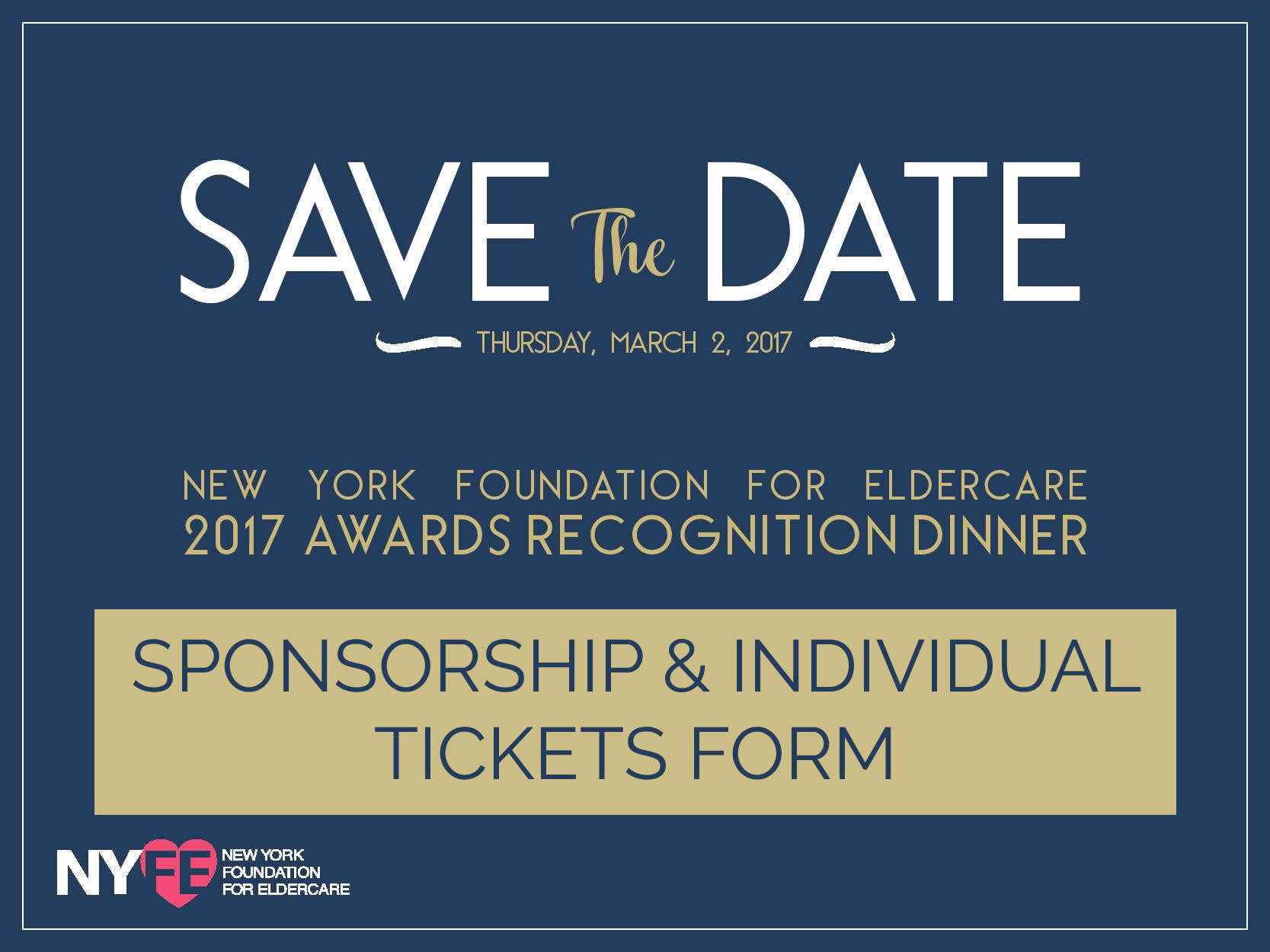 NYFE 2017 Awards Recognition Dinner Sponsorship and Tickets Form